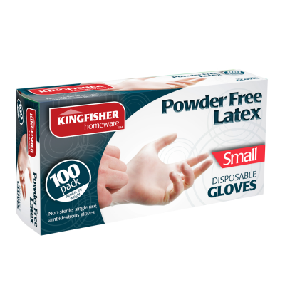 100 Pk Powder Free Latex Gloves Small