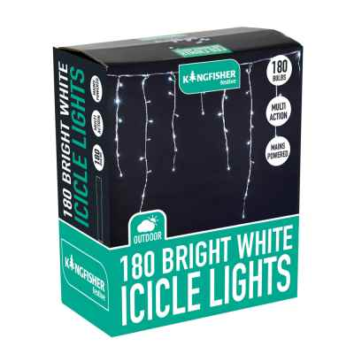 180 Bright White Multi Action Xmas Icicle Lights