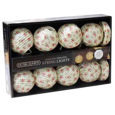 10 Paper Floral Ball Battery Powered String Light