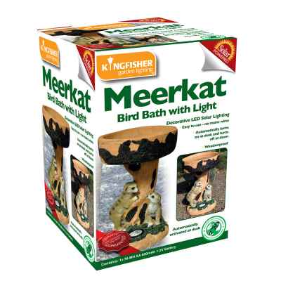 Solar Powered Meerkats with Bird Bath Garden Light