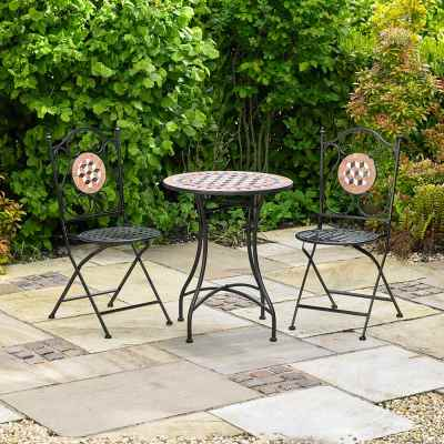3 Piece Mosaic Bistro Patio Garden Furniture Set