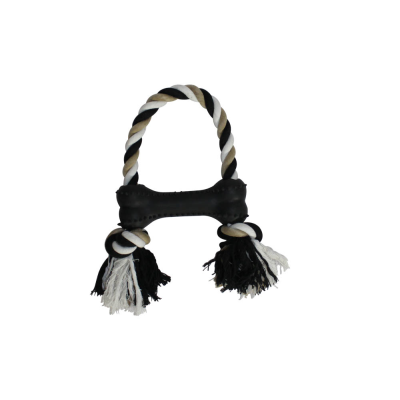 Heavy Duty Rubber and Rope Bone Toy