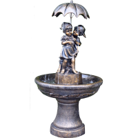 Boy And Girl Under Umbrella Water Feature Fountain