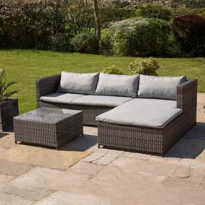 Rattan Effect Corner Sofa and Table Set
