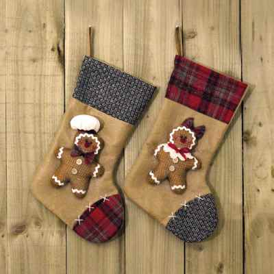 2 Assorted Gingerbread Man Stockings