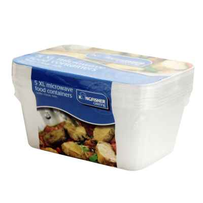 5 Pack of 2000ml Food Containers