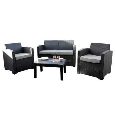 4 Piece Rattan Effect Furniture Set