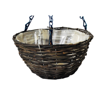 16 inch Dark Rattan Hanging Basket