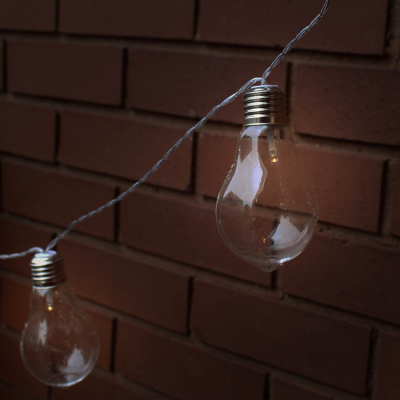 10 LED Solar Glass Bulb String Lights
