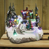 Battery Operated Medium Xmas Carol Village Scene