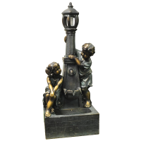 Boy and Girl Lamp Post Fountain