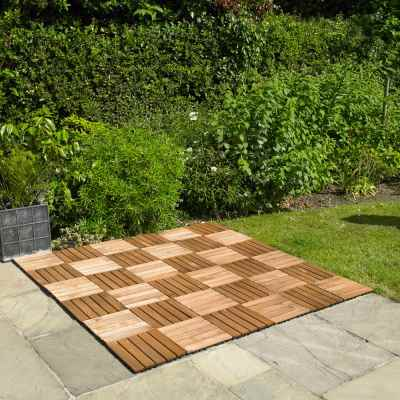 9 Pack Wooden Deck Floor Tiles