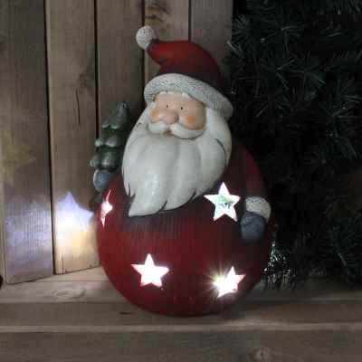 Large Round Santa Candle Holder
