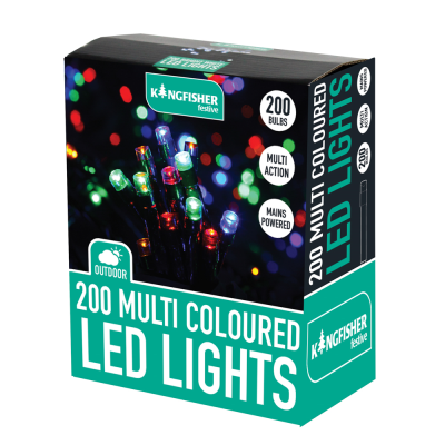 200 Coloured Multi Action LED Lights