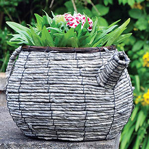 Wicker Teapot Planter