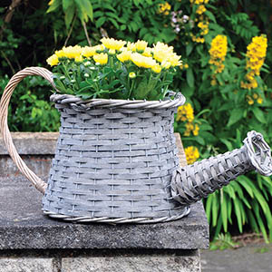 Wicker Watering Can Planter