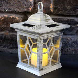solar wooden effect candle lantern