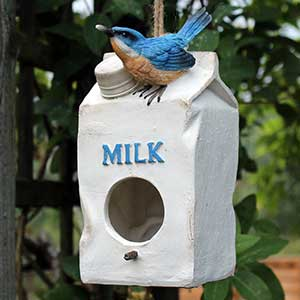 Milk Carton Poly Resin Bird Feeder